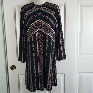 Free People• L dress crew neck long sleeve striped